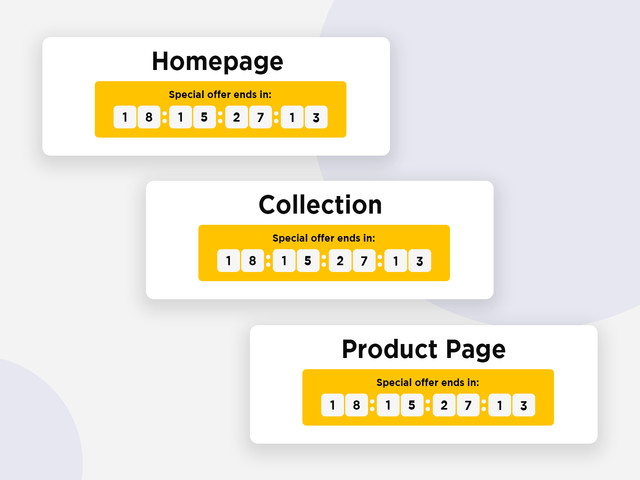 sales notifications for collection, homepage or product countdown timers