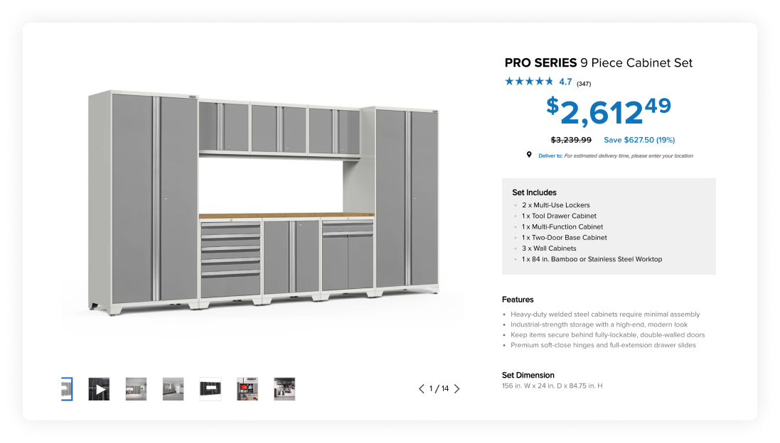 Example of PRO SERIES 9 Piece cabinet set