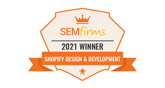 SEMFirms Top Shopify Design & Development Firms in United States in 2021 rating will open in new window
