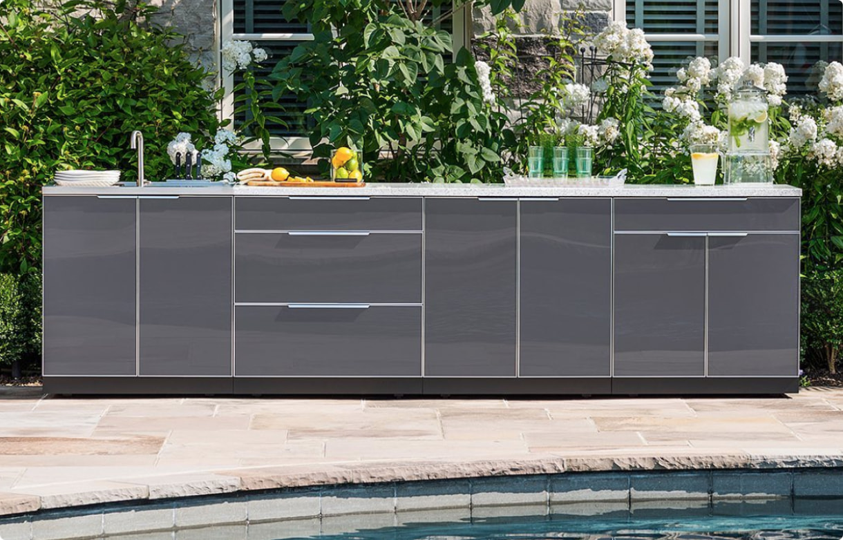 A comprehensive outdoor storage solution is ready for a backyard cookout