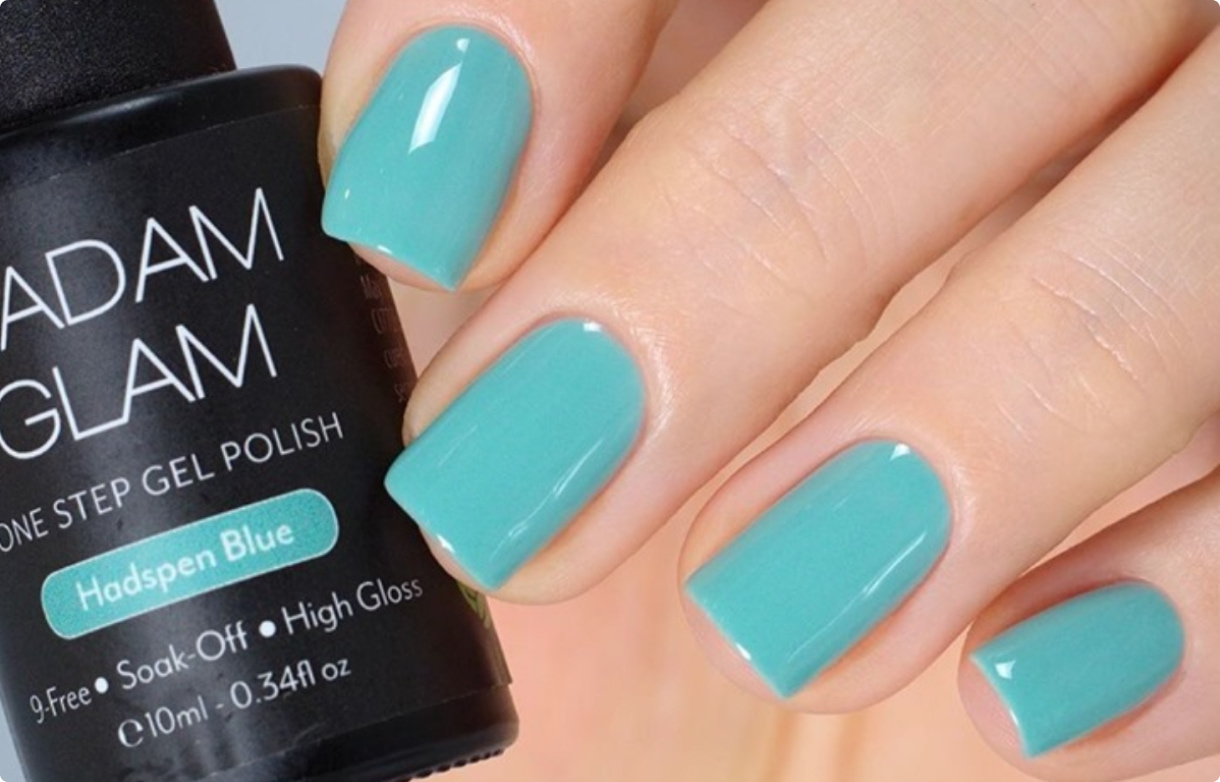 A mint blue gel polish looks crazy-shiny when on nails