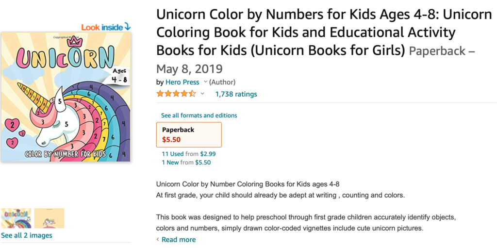 Painting by numbers color unicorn