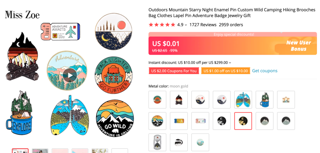 enamel pins with mountains